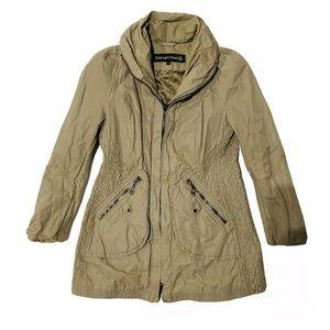 Creenstone Puffer Coat Tan Pockets Button Down